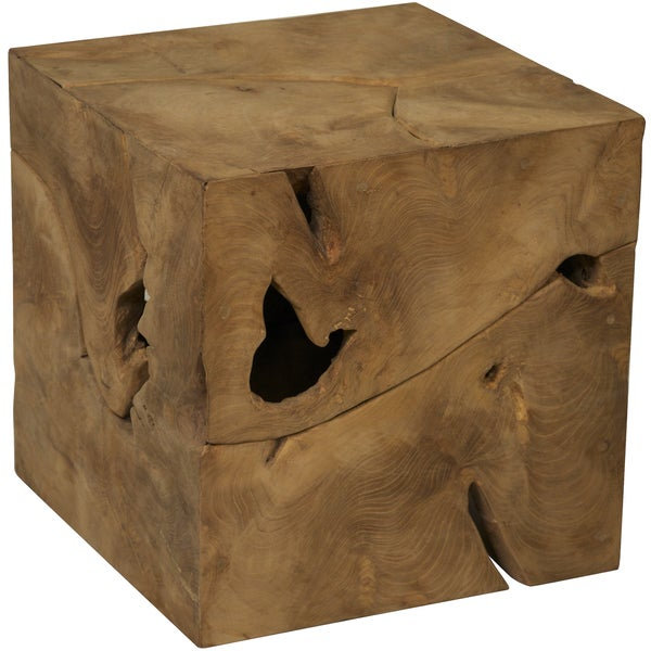 Shop Root Cube Teak Wood Side Table Free Shipping Today