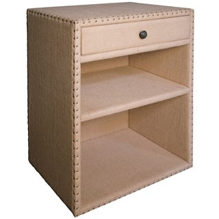 Aiden Burlap and Nailhead Trim Side Table