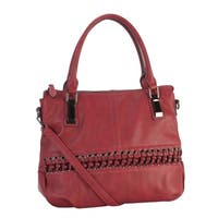 Rimen & Co. Faux-leather Laced-front Tote Handbag
