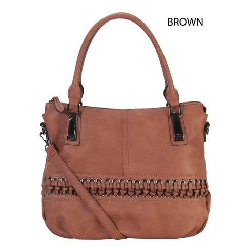 Rimen & Co. Faux-leather Laced-front Tote Handbag