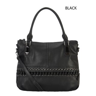 Rimen & Co. Faux-leather Laced-front Tote Handbag (Option: Black)
