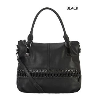 Faux Leather Laced Front Tote Handbag