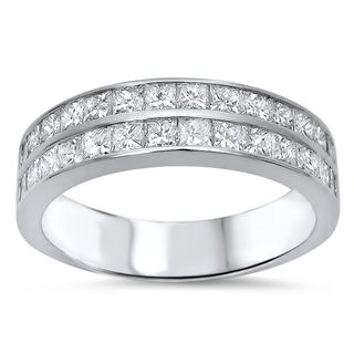Noori 14k White Gold Men's 1 3/4ct TDW Princess-cut Diamond Band (G-H, SI1-SI2)