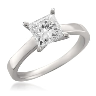 Montebello 14k White Gold 1.56ct TDW Certified Princess-cut Diamond Solitaire Ring
