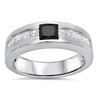 14k White Gold Men S 1 1 4ct TDW Black And White Diamond Band