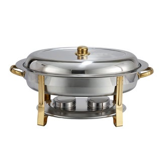 Winco 6-Quart Malibu Stainless Steel Oval Chafer with Gold Accents