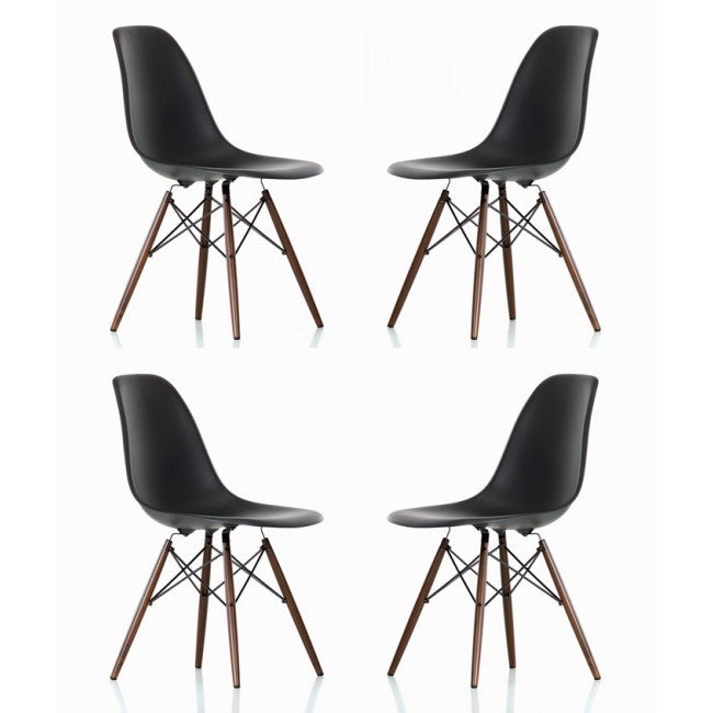 Contemporary Retro Molded Style Black Accent Plastic Dini...