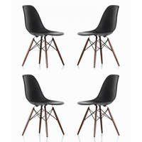 Contemporary Retro Molded Style Black Accent Plastic Dining Shell Chair with Dark Walnut Wood Eiffel Legs (Set of 4)