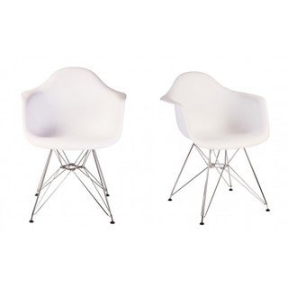 Contemporary Retro Molded Style White Accent Plastic Dining Armchair with Steel Eiffel Legs (Set of 2)