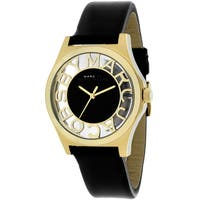 Marc Jacobs Women's  Henry Round Black Leather Strap Watch