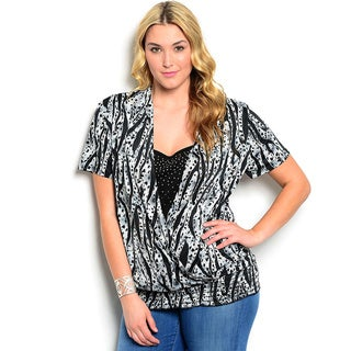 Shop The Trends Women's Plus Size Short Sleeve Animal Print Studded Chest Top