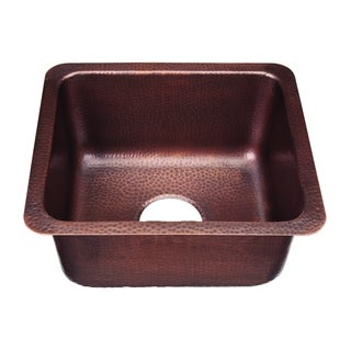 "Sinkology Escher Handmade 17"" Bar Prep Sink in Antique Copper"