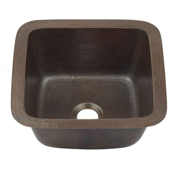 "Sinkology Pollock Dual Copper 12"" Copper Bar Prep Sink in Aged Copper - Black. Opens flyout."