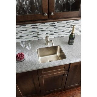 "Sinkology Rembrant Handcrafted 17"" Bar Prep Sink in Hammered Nickel"