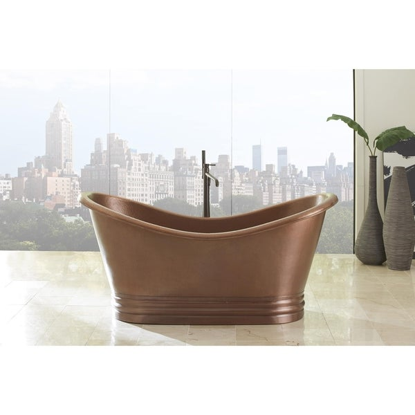 Sinkology Euclid 6 Foot Handmade Antique Copper Freestanding Tub