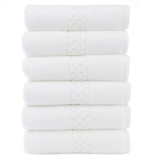 Luxury Hotel and Spa 100-percent Genuine Turkish Cotton Hand Towels Checkered (set of 6)