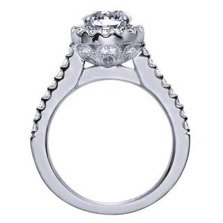 14k White Gold Cubic Zirconia 1/2ct TDW Diamond Vintage Halo Engagement Ring (H-I, I1-I2)