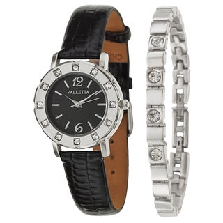 Valletta Women's 'Crystal' Stainless Steel Black Synthetic Leather Strap Quartz Watch