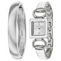 Valletta Women's 'Bracelet' Stainless Steel Quartz Silver and White and Enamel Bracelet Watch