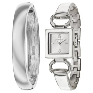 Valletta Women's 'Bracelet' Stainless Steel Quartz Silver and White and Enamel Bracelet Watch
