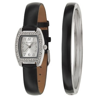 Valletta Women's 'Crystal' Synthetic Leather Strap Stainless Steel Quartz Watch
