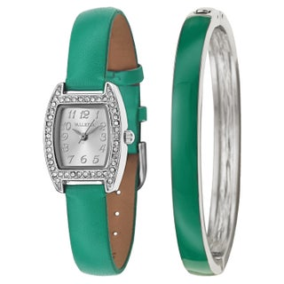 Valletta Women's 'Crystal' Synthetic Leather Strap Stainless Steel Quartz Watch (5 options available)