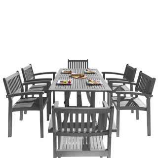 The Gray Barn Bluebird 7-piece Wood Outdoor Dining Set with Stacking Chairs