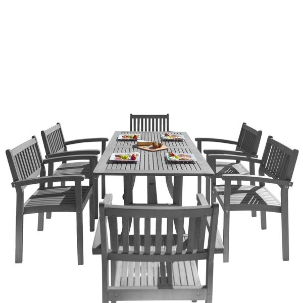 Havenside Home Surfside 7-piece Wood Outdoor Dining Set with Stacking Chairs