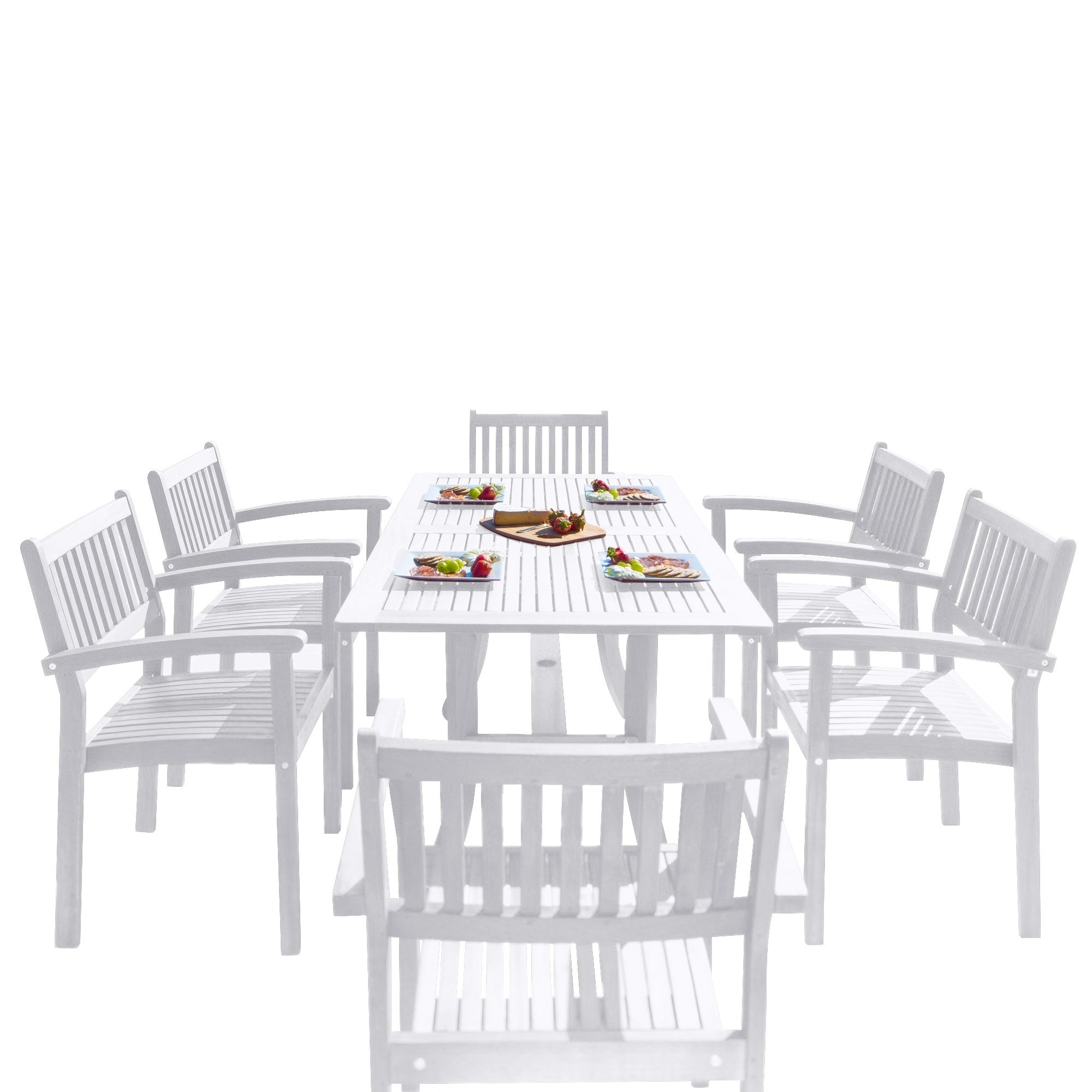 The Gray Barn Bluebird 7 Piece Wood Outdoor Dining Set With Stacking Chairs