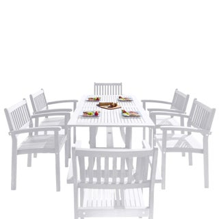 7-piece Wood Outdoor Dining Set with Stacking Chairs