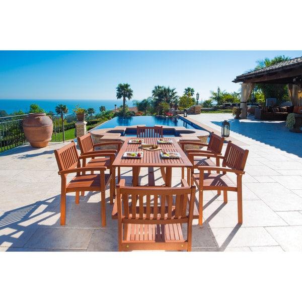 Malibu V187set4 Eco Friendly 7 Piece Wood Outdoor Dining Set With Rectangular Curvy Table