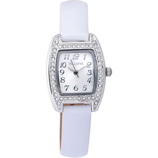 Valletta Women's 'Crystal' Stainless Steel White Synthetic Leather Strap Quartz Watch and Bracelet Set