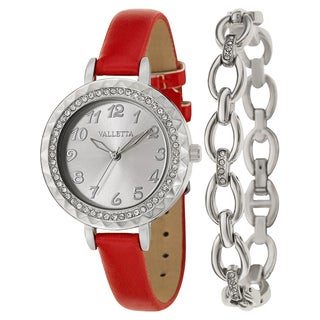Valletta Women's 'Crystal' Stainless Steel Quartz Red Synthetic Leather Strap Watch