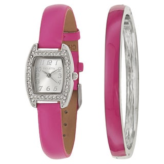 Valletta Women's 'Crystal' Stainless Steel Pink Synthetic Leather Strap Quartz Watch
