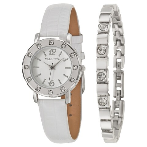 Valletta Women's 'Crystal' Stainless Steel Quartz Synthetic Leather Watch