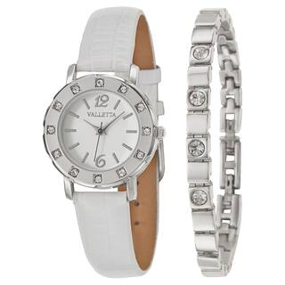 Valletta Women's 'Crystal' Stainless Steel Quartz Synthetic Leather Watch|https://ak1.ostkcdn.com/images/products/10102657/P17243536.jpg?impolicy=medium