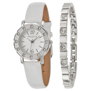 Valletta Women's 'Crystal' Stainless Steel Quartz Synthetic Leather Watch (4 options available)