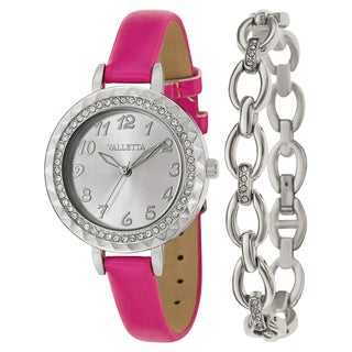 Valletta Women's 'Crystal' Stainless Steel Quartz Pink Synthetic Leather Strap Watch