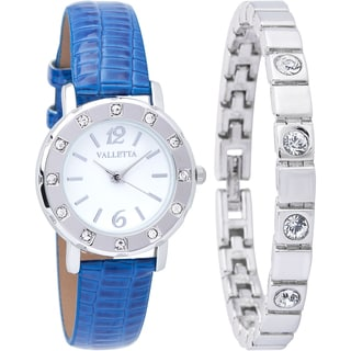 Valletta Women's 'Crystal' Stainless Steel Quartz Blue Synthetic Leather Strap Watch and Bracelet Set