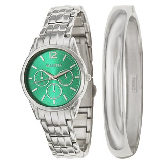 Valletta Women's 'Bracelet' Stainless Steel Quartz Silver Bracelet Watch and Bracelet Set