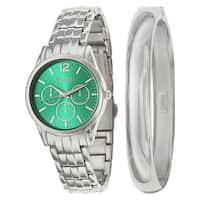 Valletta Women's 'Bracelet' Stainless Steel Quartz Silver Bracelet Watch and Bracelet Set