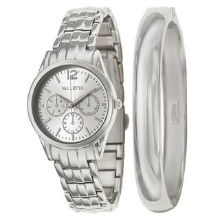 Valletta Women's 'Bracelet' Stainless Steel Quartz Silver Bracelet Watch and Bracelet Set (Option: Silver)