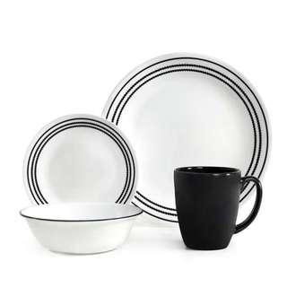 Corelle Livingware Onyx Black 16-piece Dinnerware Set