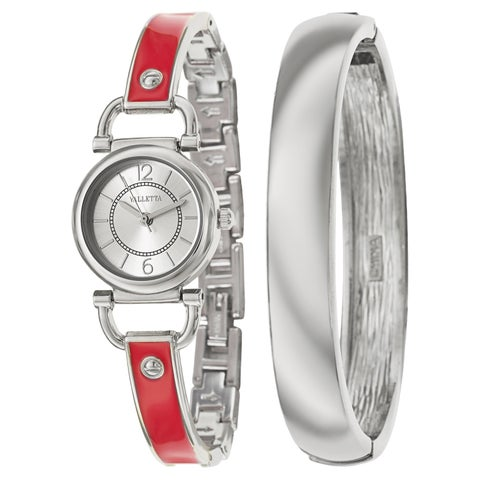 Valletta Women's 'Bracelet' Stainless Steel Quartz Enamel Bracelet Watch