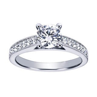 14k White Gold Vintage Cathedral Diamond and Cubic Zirconia Engagement Ring (H-I)