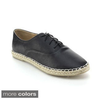 Refresh Women's Gemini Lace-up Espadrille Oxford Flats