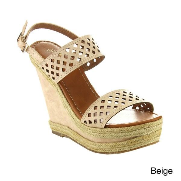 8d9512957d5 Shop Betani Women's Shiloh-4 Peep-toe Slingback Espadrille Wedges ...