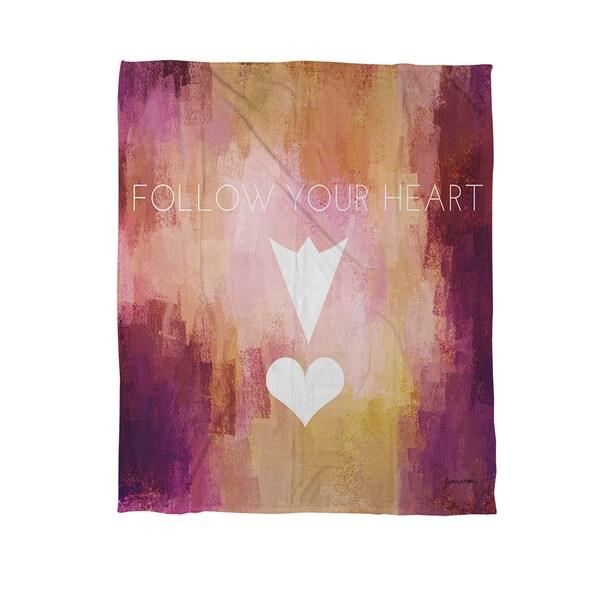 Follow Your Heart Coral Fleece Throw