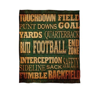 Football Words Coral Fleece Throw