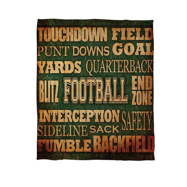 Football Words Coral Fleece Throw